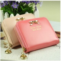 2014 New fashion colorful lady lovely purse clutch women wallets short small bag PU leather card hold