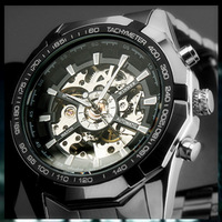 Brand NEW 2014 Steampunk Clock Mens Automatic Mechanical Men Wrist Watch Military Style Men Wristwatches