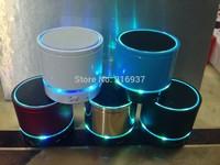 Free Shipping Portable mini speaker LED light flash travel speaker Wireless Bluetooth small speaker with TF slot FM microphone