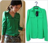 S- XL Size Women Blouse New 2014 Spring Autumn Korean Fashion Casual Green/Pink Long Sleeve Shirt Hot Sale