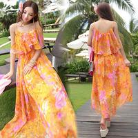 2014 new arrive lady orange colour long dress free shipping new women's one piece summer chiffon dresses 3008