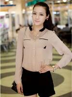 Free shipping 2014 Women New Mixed-Color Golden Button Stand Collar Slim Chiffon Long Sleeve Shirt