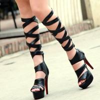 2014 New  sandal boots gladiator sandals women cross cutout knee high boots platform sandals  high heels plus size 10  11 42 43