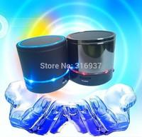 Free Shipping Portable mini speaker LED light flash speaker Wireless Bluetooth small speaker with TF slot FM microphone black