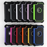 Wholesale 100pcs/lot New SHOCK PROOF TRIPLE LAYER 3 in 1 Combo Hard Soft Back Cover Case For iPod Touch 4 4G