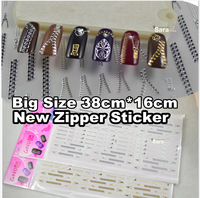 2014 Japaness Fashion 4 sheets Gold&Siver mix  35cm*16cm Hot Style Zipper Nail Art  Stickers Decals 3D Nail Art