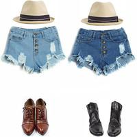 Vintage Women Denim Shorts High Waist Retro Destructed Denim Shorts Ripped Frayed Jeans Cutoff Shorts with Hole 850086-850091