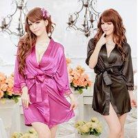 Free Shipping Women's Sexy Lace Nightwear Lingerie Long Bathrobe,  Sleep Dress Robe Nightgowns Sleepwear Black Purple 654284