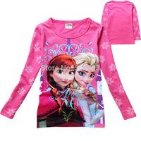 Free Shipping Hot 6pcs/lot new Kids girls cartoon ice girls T shirts clothes kids girls frozen Tee spring Autumn wholesale