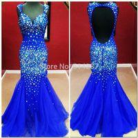 Vestidos De Fiesta Real Picture V-Neck Crystal Tulle Backless Mermaid Floor Length Prom Dresses Evening Dress 2014 New Arrival