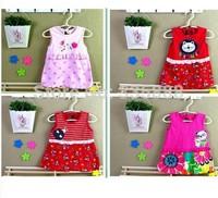 2014New Arrival Summer Children Dress Baby Dress Cotton Baby Doll Dress Original Flower Princess Dress Free Shipping 1lot=10pcs