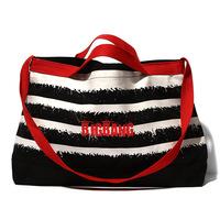 AB447 Bold Punk Stripe grapheme Bicolor Canvas Large  size Duffel Travel Bag sport bag Gym Bag Weekend Bag  free shipping