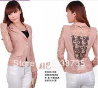 Free shipping Spring 2014 women blazers European style lace stitching women's suit high quality fashion design bow blazer jacket