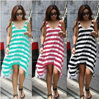 New 2014 Women Summer Dress O-Neck Casual Beach Dress Plus Size Striped Dress 3 Colors Available Free Shipping