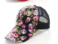 Floral mesh ball hat/cap