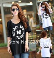 HOT New 2014 women hooded t shirt brand black & white summer casual short-sleeved T-shirt cotton plus size loose tops for women