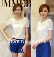 Fashion women 2014 Chiffon shirt High quality summer short-sleeve white women blouses Openwork beaded V-neck lace blouses S-XXL