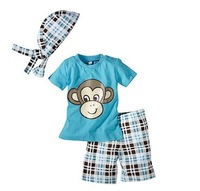 Retail 2014 Children Summer 3 Pcs Boy Clothing Set (Monkey Shirt +Hat+ Plaid Shorts)For 1-5 Years Kids Suits Baby Boys Clothes