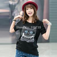 New 2014 summer Women Short t shirt casual woman clothes cotton t-shirt plus size loose asymmetric printing cartoon logo t shirt