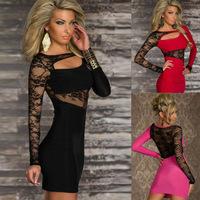 New 2014 Women Sexy Dress Party Dress Lace Dress Club Wear Black Pink Red Color Plus Size XXL