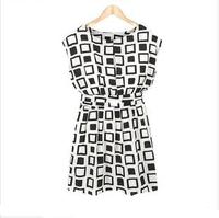 New spring summer dress 2014 fashion desigual maxi black white plaid high quality party causal plus size mini chiffon dress W053