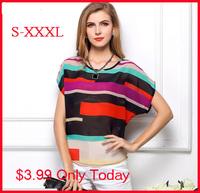 women blouse  Multi-colour print Stripe Loose Short Sleeve 2014 New Chiffon Shirt Brand casual plus size summer blouse S-XXXL