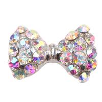 10Pcs Alloy Silver Plating 3D Nail Sticker Bow Tie DIY Decoration & Rainbow Rhinestone Craft L0322033