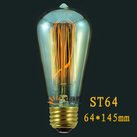10pcs/lot 40W 110V 220v Edison Vintage incandescent bulb Silk Light Lamp Personality Screw-mount bulb ST64