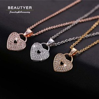 Romantic Micro Inlay Heart Lock Pendant Necklaces For Women 14K Gold Plated Pearl Tin Cup Necklace Diamante Pave Beautyer BXL49