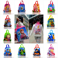 2Pcs Peppa Pig/Bubble Guppies/Despicable Me/Frozen/Sofia the first/Rio2/Super Man/Kids Cartoon Drawstring Backpacks School Bags