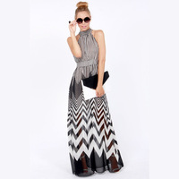 Wave stripe of perspectivity patchwork long design long halter-neck chiffon one-piece dress haoduoyi