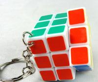 1X QJ 3CM 3x3x3 mini magic cube keychain heat transfer printing stickerless cube keychain+ePacket  Free Shipping