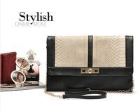 2014 women's handbag serpentine pattern color block day clutch envelope messenger bag chain bag vintage small bags