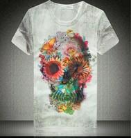 Super Cool !Unique Fashion Men's Horrific Skull Printed 3D O-Neck T Shirt, Mens Short Sleeve Cotton T-Shirt Size M-XXL