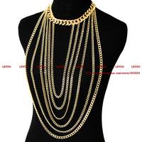 Trendy Fashion Vintage Sexy Bikini Metal Gold Chunky Curb Body Chain Tassel Statement Necklace Women Costume Jewelry