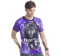 3D wolf short sleeve mens t-shirt 2014 new spring & summer men's Top shirts Skin friendly casual men t-shirts luminous at night