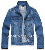 Man spring 2014 denim jacket 100% cotton fashion European retro style casual jacket brand designer denim jacket & men's clothes