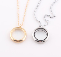 Round Magnetic Floating Locket Necklace Glass Floating Charm Memory Locket Pendant Chain Necklace Wholesale ZN84