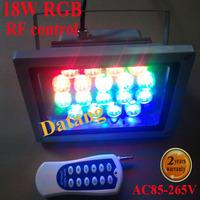 80 meters remote control Led Flood light 18W 85-265V RF Wireless Remote Led lights RGB Outdoor Lamp Lighting