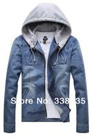 Wholesale Men's Denim Casual Jacket Korean Fashion Slim Plus Size XXXL hooded jean jacket brand autumn & winter jackets for men