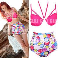 Details about Hot Cutest Retro Swimsuit Swimwear Vintage PIN UP High Waist Bikini Set w1