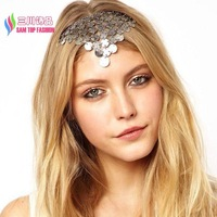 2014 latest fashion women's vintage retro silver coins fringes T-bar headbands for hair accessories jewelry bandeaux bandas