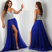 Fashion Blue Sweetheart  Rhinestone Chiffon Floor Length A-Line Prom Dress Party  Dresses 2014 Hot Sale Long Evening Dress