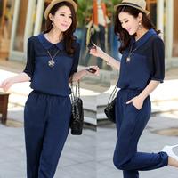 Free Shipping 2014 Summer Fashion Sexy Half Sleeve Chiffon Plus Size Jumpsuit Women Dark Blue T5091 L-4XL