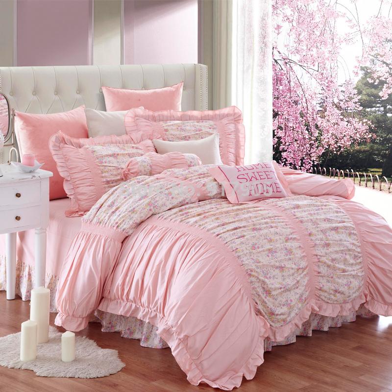 luxury ruffled red rose bedding set modern girl princess