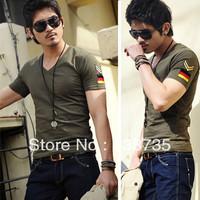 Low price fashion Slim men's clothing men's v-neck short sleeve t-shirt nine colors 100% cotton Army uniform bottoming shirt