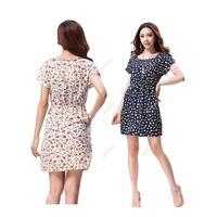 Casual Women Summer Tunic Floral Print Short Sleeve Chiffon Mini Dress