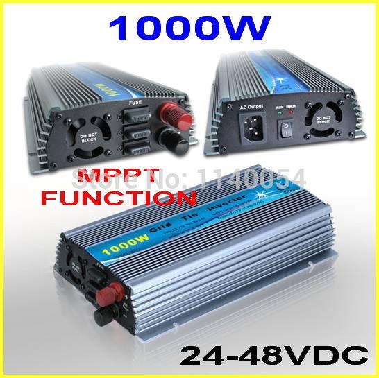 1000W 24-48VDC MPPT Grid Tie Inverter,36V to AC110V/220V Pure Sine Wave Output Micro on grid tie solar wind power inverter 1000W(China (Mainland))