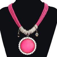 Women Rhinestone Embroider Pendant Nylon Rope Imitation Gemstone Necklace (rose red) 62655