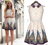 New Fashion Women's Print  Waisted Show Thin Sleeveless Dress